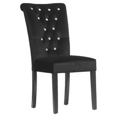 Velveteen-upholstered side chair with a wood frame, faux crystal buttons, and brass tack trim.  Product: Set of 2 chairs