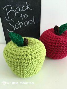 5 Little Monsters: Back to School Crocheted Apples