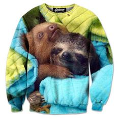 Adorable Cuddling Sloths Graphic Print Unisex Pullover Sweatshirt Sweater   Gifts for Animal Lovers