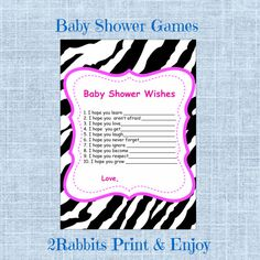 Zebra Themed Baby Shower  Wishes for Baby  by 2RabbitsPrintEnjoy #zebrathemedbabyshower #wishesforbaby