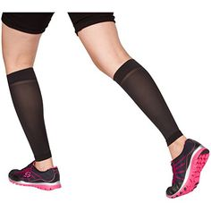 EvoMotion USA Made Sheer Microfiber Graduated Compression Calf Sleeves 1015 mmHg  Men and Women Lightweight Recovery and Support for Shin Splints Sports Sprains Pain Relief 1 Pair Medium Black -- You can get additional details at the image link.