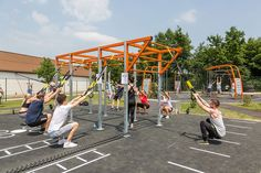 KOMPAN designs innovative and unique sports & fitness equipment that are based outdoors. Outdoor Gym, Outdoor Workouts, Commercial Playground Equipment, Running Track, Jungle Gym, No Equipment Workout, Crossfit, Backyard, Landscape