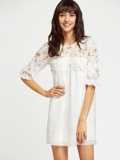 White Contrast Crochet Lace Ruffle Cuff Chiffon Dress