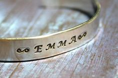 Toddler Name Bracelet Custom Hand Stamped Cuff Aluminum Small Size Made To Order Personalized