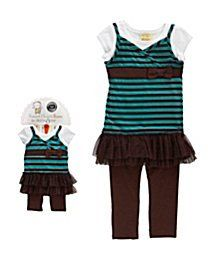 Amazon.com: Dollie & Me Dress and Leggings Set Teal Brown White Size 4: Clothing  $40