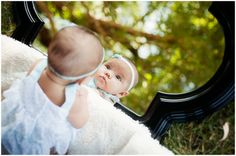 3 month baby girl natural light photography | mirrors and willow trees | © Lucy Dennis Photography