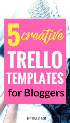 5 Creative Trello Templates for Bloggers | #heyjudess #productivitytips #apps