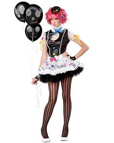 Taking the Burlesque - Fable theme to the darker sider ... Raggedey Ann ?  Teen Sassie The Clown Costume | Teen Costumes Clown Halloween Costumes