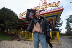 Fashion model, 90-s style, photo in attrapark, fashion photographer, magazine