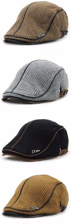 Men Women Knitting Beret Caps Newsboy Buckle Adjustable Casual Outdoors Peaked Hat