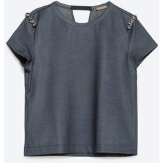 Zara Jewel Applique T-Shirt (115 PLN) ❤ liked on Polyvore featuring tops, t-shirts, navy blue, navy blue tops, navy t shirt, blue tee, zara top and navy blue tee