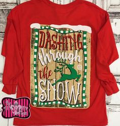 Girlie Girl Dashing Through The Snow Red Long Sleeve Tee Size 6/8-14/16