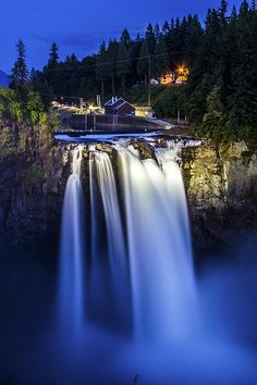 Nightscape of Snoqualmie Falls.