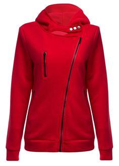 $14.35 Casual Turn-down Collar Zipper Button Design Women Hoodie - Wine Red