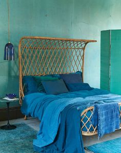 Green and Blue Interiors   Green and Blue Bedroom   Wicker Bed   Bamboo Headboard   Tropical Bedroom   Inspiration for Livingetc Topics decorating feature   March 2016