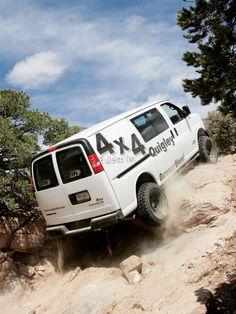 Show me Lifted Full Size Vans Off Road Camping, Van Camping, Lifted Van, Astro Van, Chevy Express, Chevy 4x4, 4x4 Van, Vanz, Cool Vans