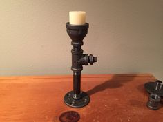 Black Iron Pipe Candle Holder, Unique Design by PipeLineDesignStudio on Etsy