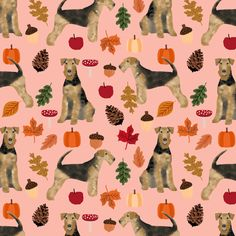 Airedale Terrier autumn dog breed fabric peach by petfriendly