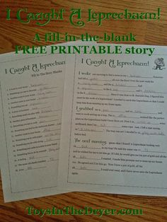 I Caught A Leprechaun! Free Fill-In-Blank Printable Story