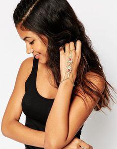 Image 3 ofASOS Filigree Stone Hand Chain Bracelet