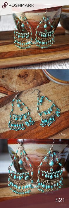 """Turquoise Chandelier Earrings A beautiful, lightweight chandelier earring from Lucky Brand that won't weigh your ears down. It is gold tone with turquoise beading. 1.5"""" wide and 3"""" long. Lucky Brand Jewelry Earrings"""