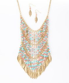 Look what I found on #zulily! Coral & Turquoise Tiered Beaded Leaf Bib Necklace & Drop Earrings #zulilyfinds