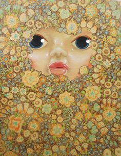 """""""The Mask"""" (2014) oil and crayon on canvas (20x27cm) by Tiina Lilja"""