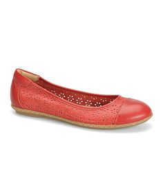 Look at this Fire Red Carajean Leather Flat on #zulily today!