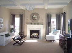 Sherwin Williams Balanced Beige.  Love this color palette for master bedroom (dark furniture, white bedding, touch of blue accents, grayish curtains)
