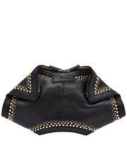 Black De Manta Studded Leather Clutch Bag