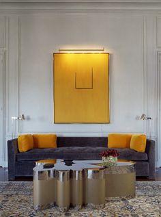 Table. Velvet couch.