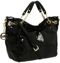 shopstyle.com: MICHAEL Michael Kors - Jet Set Medium Gather Shoulder Tote (Black Patent Python) - Bags and Luggage
