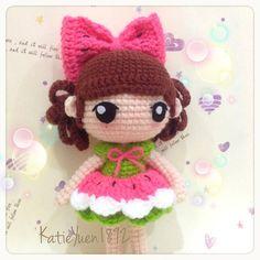 西瓜妹 Watermelon #adorable #amigurumi #crochet #crochetdoll #doll #häkeln #hobby #haken #handmade #yarn