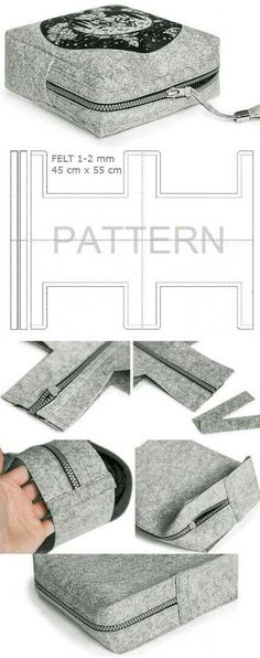 pattern / picture tutorial for square zipped bag - perfect for overnight toiletries