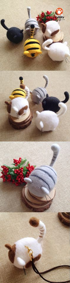 Handmade needle felted felting cute animal project cat kitten doll toy