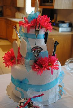 Towel cake - great bridal shower gift!