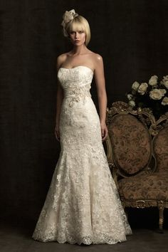 Lace Wedding Dresses Trumpet Mermaid Sweetheart Court Train @Chrissy Bowen