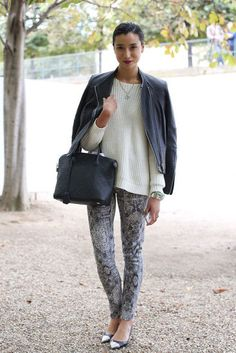Paris Fashion Week: A chunky knit played opposites against skinny-print bottoms and cap-toe heels.