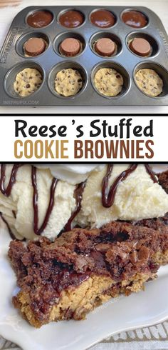The BEST dessert, ever! Peanut Butter Cup Stuffed Cookie Brownies (Quick & Easy) - The BEST dessert, ever! Easy Chocolate Desserts, Quick Easy Desserts, Brownie Desserts, Fun Desserts, Chocolate Lava, Quick Recipes, Yummy Recipes, Recipies, Brownie Cookies