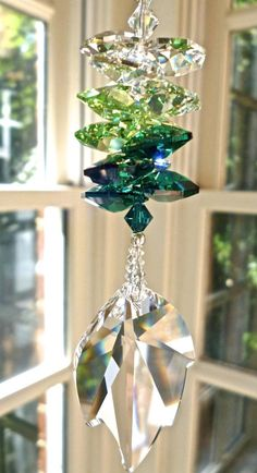 """Swarovski (retired) Leaf Crystal Prism with Swarovski Octagons in Medley of Clear and Green Tones, Window Suncatcher - """"IVY"""" Swarovski Crystal Beads, Crystal Ball, Crystal Lights, Hanging Crystals, Hanging Beads, Beaded Ornaments, Stained Glass Art, Feng Shui, Suncatchers"""