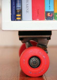 Add Skateboard Wheels To A Box = Fun Book Storage For Kids