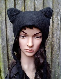 Black Cat Hat hand felted anime cosplay fancy dress by KarenRao, £38.00