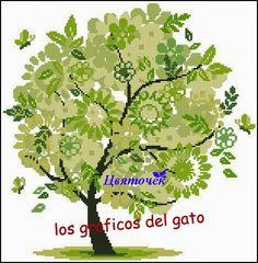 Precioso gráfico de un árbol en su cuatro estaciones del año...