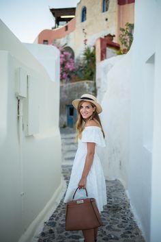 Outfit details: tibi dress (on sale) c/o, soludos sandals, fendi bag, eugen Travel Outfit Summer, Summer Outfits, Summer Dresses, Jansport, Greece Outfit, Greece Dress, Megane 3, Tibi Dresses, Gal Meets Glam
