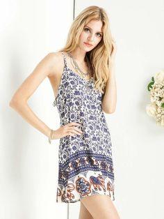 Choies Women's Blue/Green Tribal Print Spaghetti Strap A-line Mini Cami Dress: Amazon Fashion