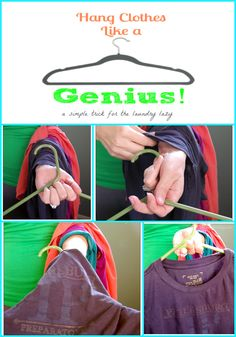This tutorial for how to hang clothes like a genius will help you have your laundry put away in a flash! There are pictures and a video tutorial to help you learn this simple tip!
