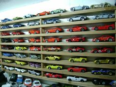 Matchbox cars storage / display made out few shoe racks stuck together