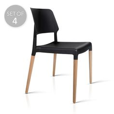 Set of 4 Stackable Dining Chair | Black | Trendy Chairs & Tables @ The Home