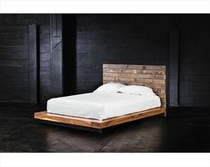 Grant Reclaimed Wood King Platform Bed is a boutique allure of high-style sustainable reclaimed wood bedroom furniture that is hand-crafted from exotic demolition hardwoods as well as black walnut. Rustic Platform Bed, Platform Bed Plans, Platform Bed Designs, Platform Bed Frame, Reclaimed Wood Bed Frame, Pallet Bed Frames, California King Platform Bed, California King Bedding, Wood Bedroom Furniture