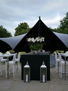 sophisticated black stretch tent